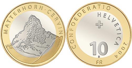 10 franken gedenkm nze 2004 matterhorn. Black Bedroom Furniture Sets. Home Design Ideas