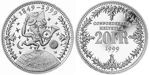 20 Franken Gedenkmünze 1999 150 Jahre Post