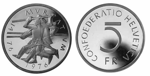 5 Franken Gedenkmünze 1976 Schalcht Bei Murten