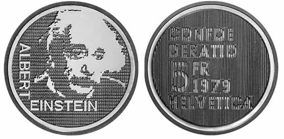 5 Franken Gedenkmünze 1979 Albert Einstein Porträt